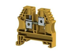 Electrical Terminal , 6mm2,screw type,single deck feed through terminal block,Insulation material PA,Yellow