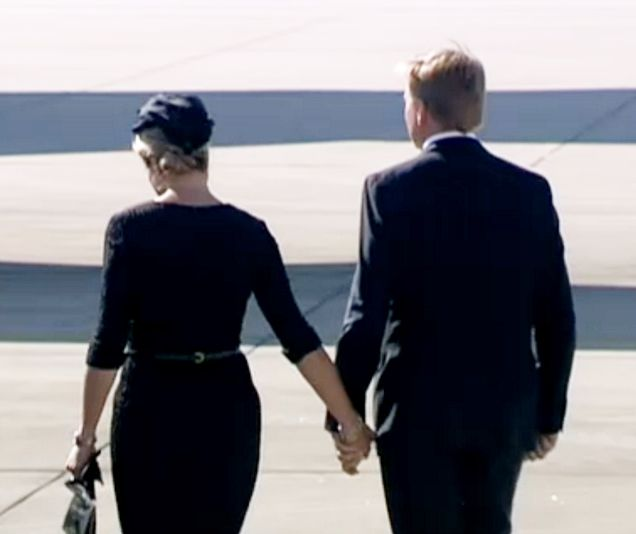 koningspaar: Queen Maxima and King Willem-Alexander, ceremony for victims of Malaysia Airlines Flight MH17, Eindhoven Airbase, July 23, 2014