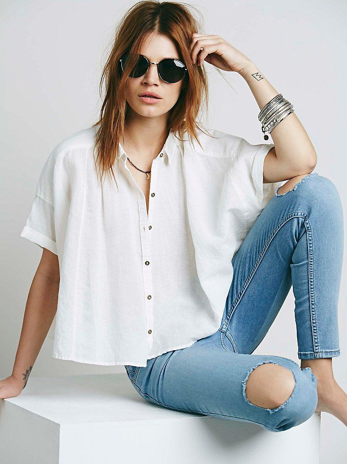 Free People Short Sleeve Linen Crop Buttondown at Free People Clothing Boutique