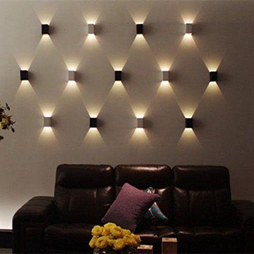 AGPtek Applique Murale 3W LED Lampe Carrée Murale pour Chambre/Escalier/Sallon/Bureau/Porche/Passerelle-argenté: Amazon.fr: Luminaires et Eclairage