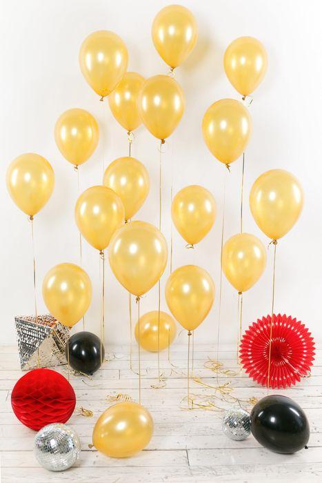Воздушные шары 30 см, золотые, 15 шт.