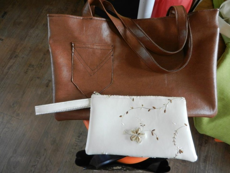 brown leather handmade bag*  and leather with details handmade purse*