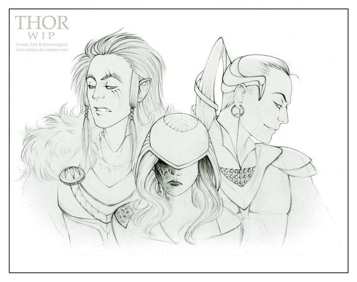 Fenrir, Hel and Jormungand WIP by Kota-Stoker.deviantart.com