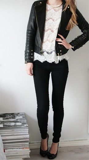 Perfect leather jacket- love the triple cuff thingies and wide collar-lapel