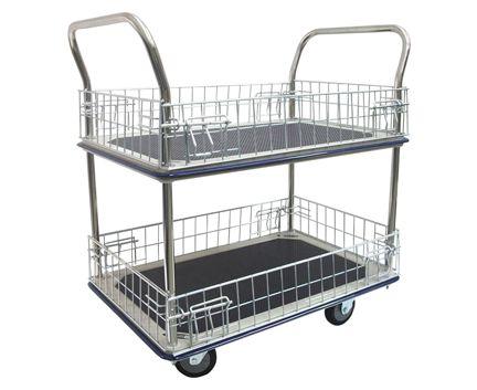 STURGO 2 Tier Platform Trolley with Mesh Sides. Buy Trolleys / Carts Online - Hand Trolleys, Hand Carts - Backsafe Australia