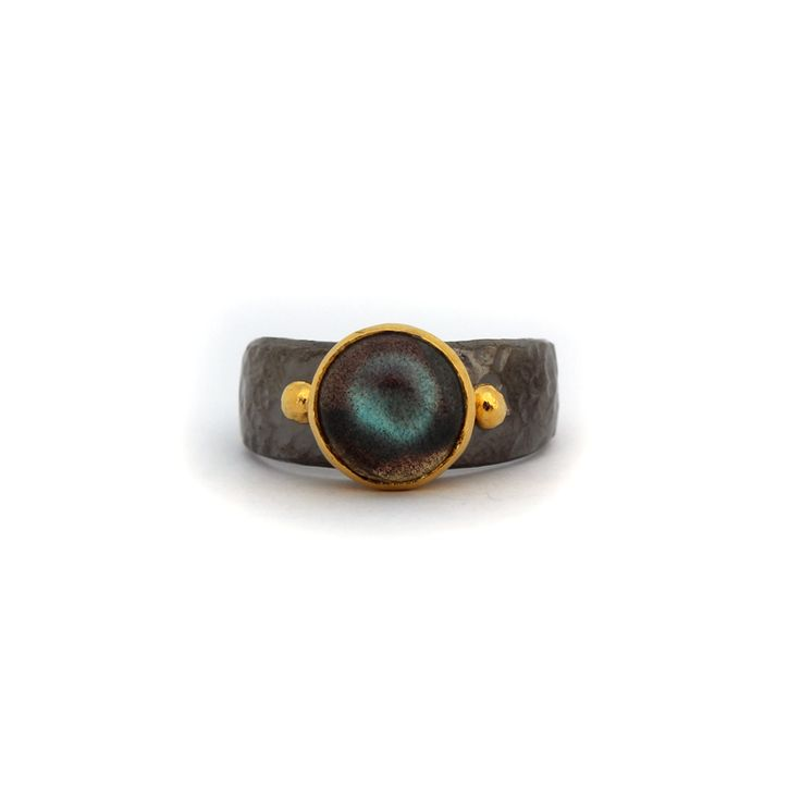 Esrin Ring - Kate McCoy | Esrin means Dark moon. Handmade from sterling silver and finished in black rhodium and 14kt yellow gold vermeil.