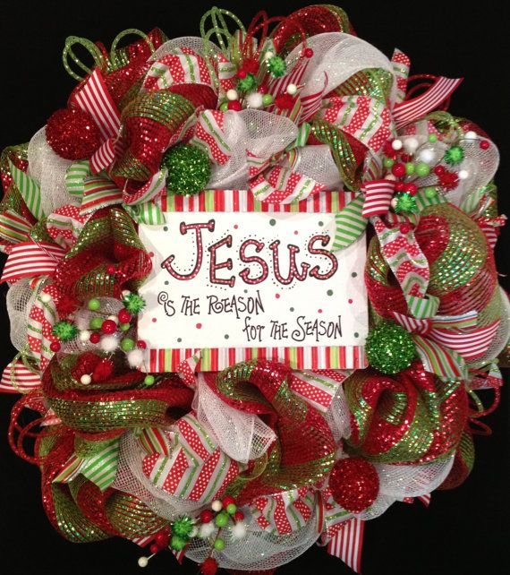 Christmas Deco Mesh Wreath by BaBamWreaths on Etsy, $89.00