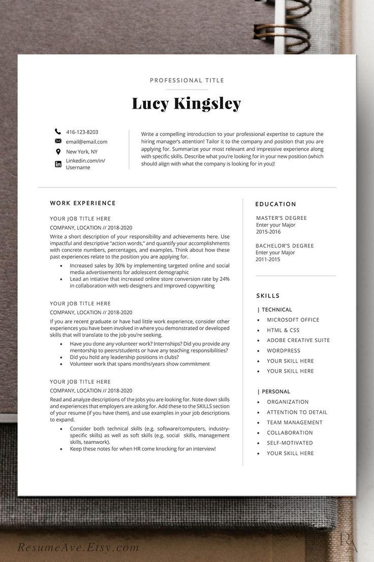 Professional executive resume template Word, cv design