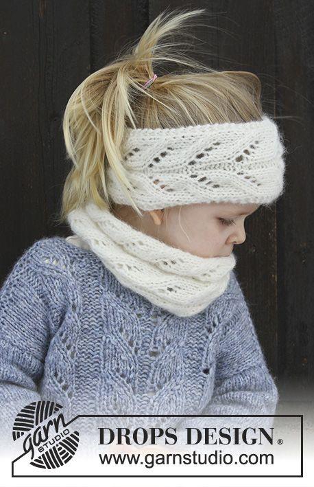 De set bestaat uit: Gebreide hoofdband en halswarmer met kantpatroon voor kinderen. Maat 2 - 12 jaar De set wordt gebreid in DROPS Air.