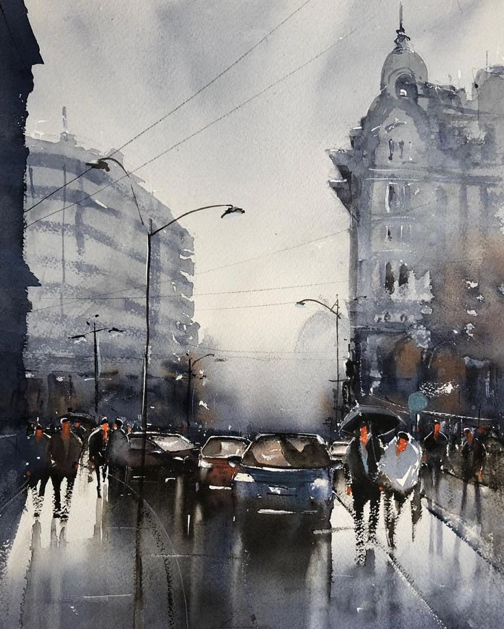 Rainy Day, Bucharest, watercolor