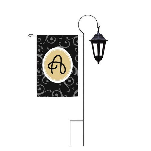 Garden Flag Lantern Stand by House-Impressions. $17.89. This stand can be staked in the garden, along pathways, in flowerbeds, and around potted plants. Flag not included.. Garden Flag Stand with lantern.. Fade-resistant. High-quality black wrought iron garden flag stand with decorative lantern topper. This sturdy flag stand has weather resistant welded joints for added strength and durability.. Save 44% Off!
