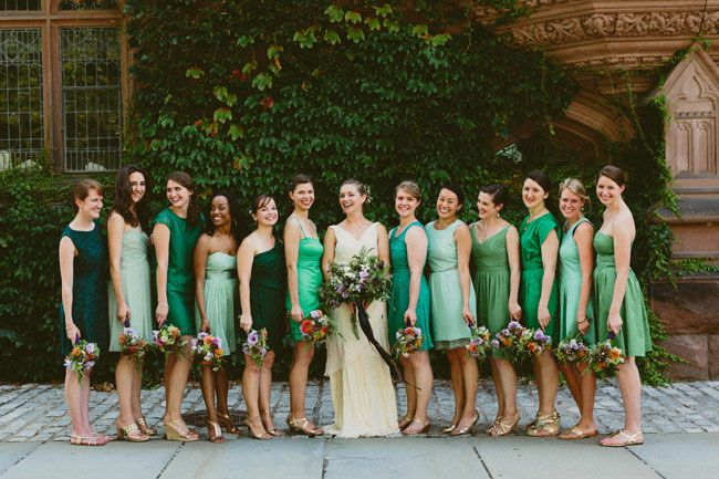 mixed green bridesmaid dresses - they each picked their own!