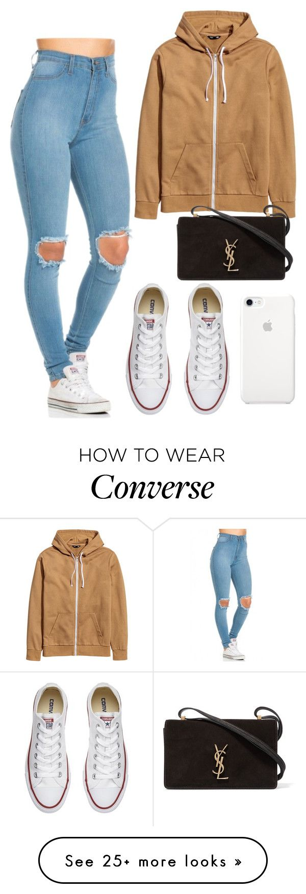 """""""Errand Day"""" by iamrosyrosalie on Polyvore featuring Yves Saint Laurent and Converse"""