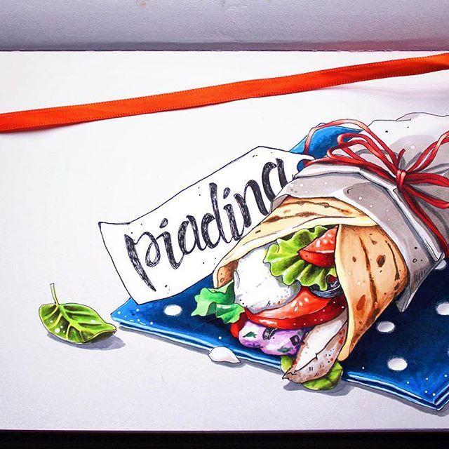 Пьядина (piadina)- итальянская  лепёшка с начинкой из зелени, сыра и прочих съедобностей 1/8 #lk_sketchflashmob, #copic, #copicmarkers, #copicart, #Leuchtturm1917, #illustration, #art, #sketch, #sketchbook, #piadina