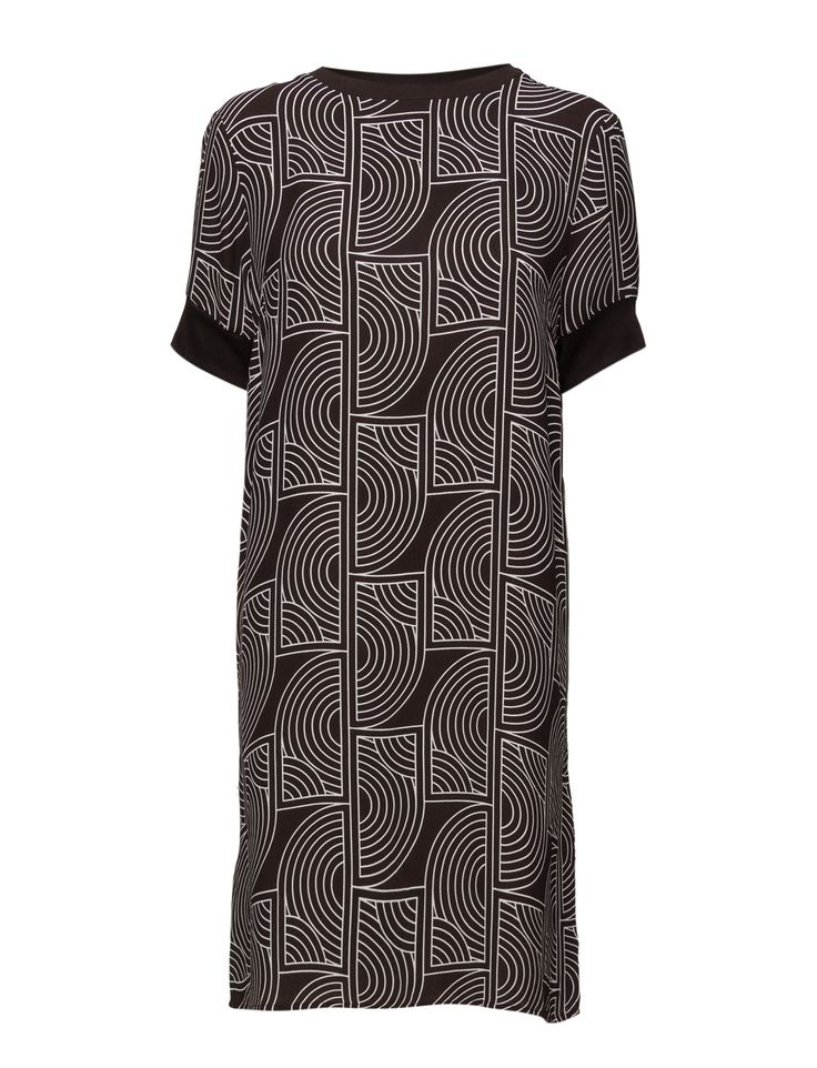 DAY - 2ND Rhyss All-over graphic pattern Ribbed collar and cuffs Round collar Chic Elegant and feminine Modern Straight cut Dress Dresses