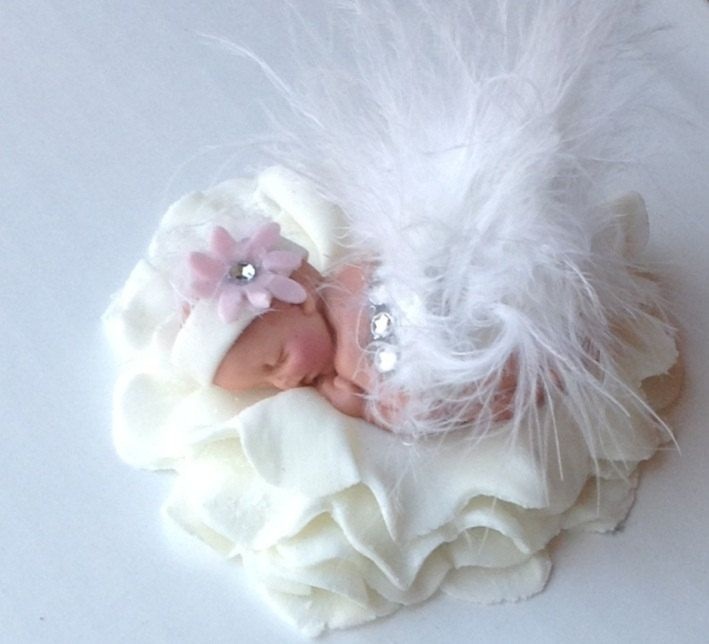 BABY SHOWER CAKE Topper Fondant baby  Tutu by BabyCakesByJennifer, $30.00