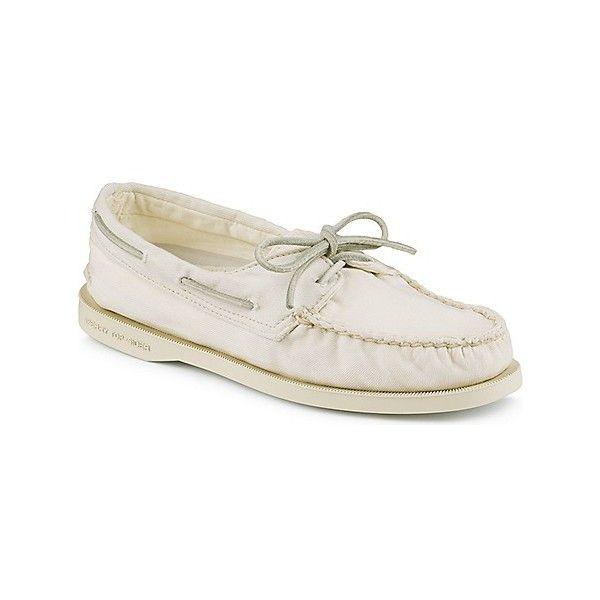 Sperry Top-Sider Authentic Original Washed Canvas 2-Eye Boat Shoe (€70) ❤ liked on Polyvore featuring sperry topsiders, traction shoes, lace up shoes, laced shoes and shock absorbing shoes