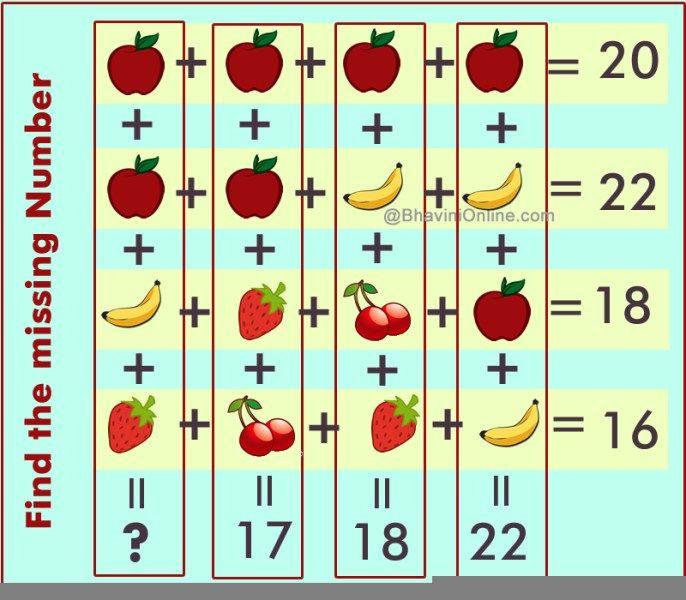 fruit riddle find missin number