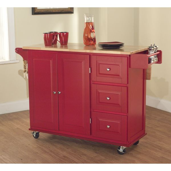 Marvelous Simple Living Aspen Red/ Natural Three Drawer Cart   Overstock Shopping    Great Deals On Simple Living Kitchen Carts