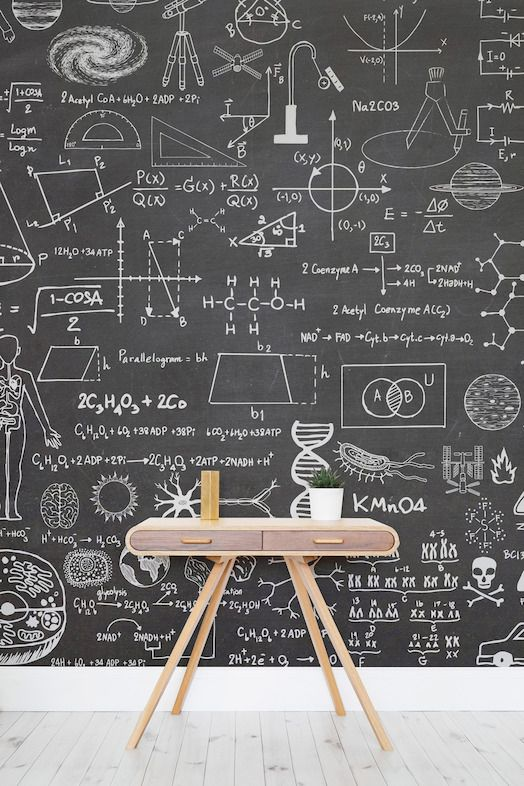 This Science Wallpaper Would Make A Really Fun Statement Wall In A  Homeschool Room.   This Striking Wallpaper Design Takes The Classic  Chalkboard Element ...