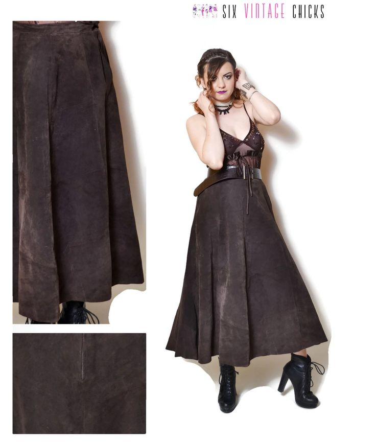 brown leather skirt vintage midi skirt high waisted skirt suede 90s clothing womens clothing country clothing gift for her boho bohemian L by SixVintageChicks on Etsy