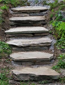 Adding this to the project list...How to Build Rustic Flagstone Garden Steps: You can build rustic flagstone steps like these to improve the look and accessibility of your garden. All you need are a few basic tools and materials, a warm day, and a little patience.