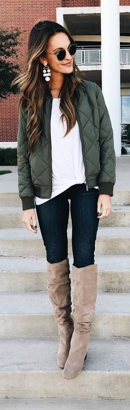 #fall #outfits green jacket jeans beige boots