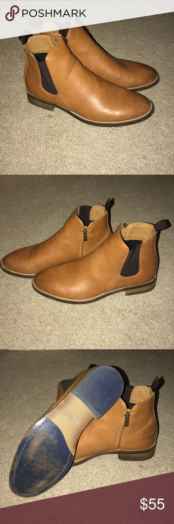 Chelsea Boots Men's Leather Chelsea Boots Color: Camel Steve Madden Shoes Boots