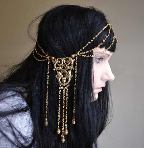 Ambergris Art Nouveau GoddessChain Headpiece Head Chain Headdress- Freakin' gorgeous!