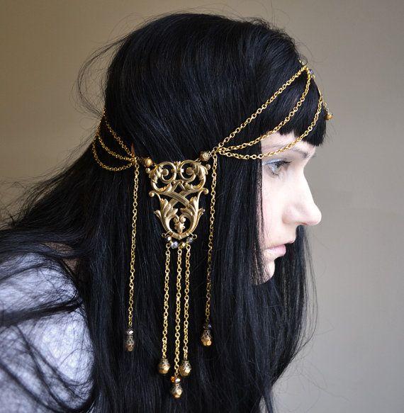 Ambergris Art Nouveau GoddessChain Headpiece by ravenevejewelry, $89.00