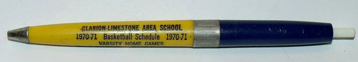 1970 -1971 CLARION LIMESTONE SCHOOL PA. BASKETBALL SCHEDULE INK PEN