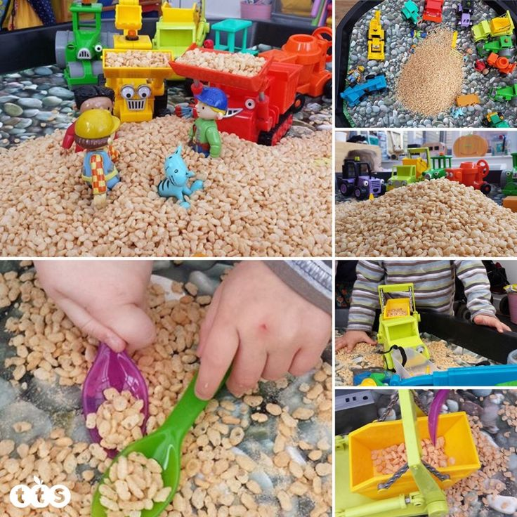 rice crispies in an active world tuff spot tray
