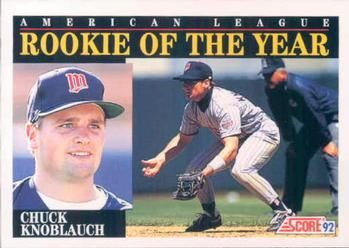 chuck knoblauch trading cards | 1992 Score #792 Chuck Knoblauch Front