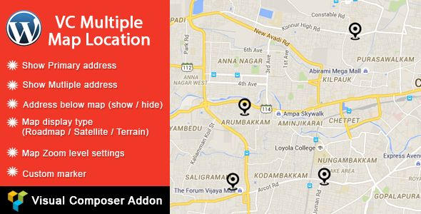 Download Free              VC Multiple Map Location            #               contact address #custom marker #google maps #Map Maker #multiple locations #Pin location #primary locations #vc addon #Visual composer google map