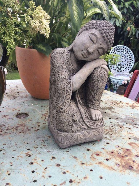Ornement de jardin qui dort statue Bouddha en pierre