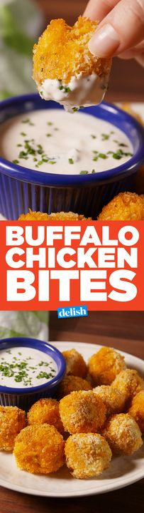 If you love buffalo chicken dip, you'll LOSE IT over these Buffalo Chicken Bites. Get the recipe from Delish.com.