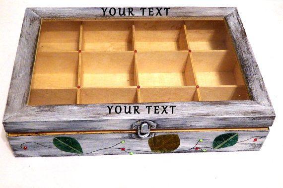 Caja de Té de Madera Caja Rústica de Té Caja de por Personalizedbox