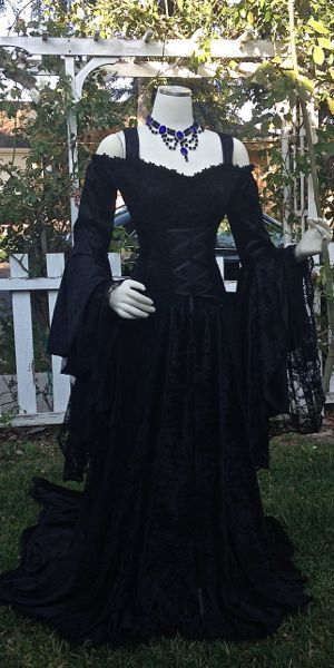 Gothic Or Halloween Wedding Gown Lady Gwen Lace Up Fantasy Fairy Medieval Velvet and Lace Gown Custom by RomanticThreads on Etsy https://www.etsy.com/listing/240127174/gothic-or-halloween-wedding-gown-lady