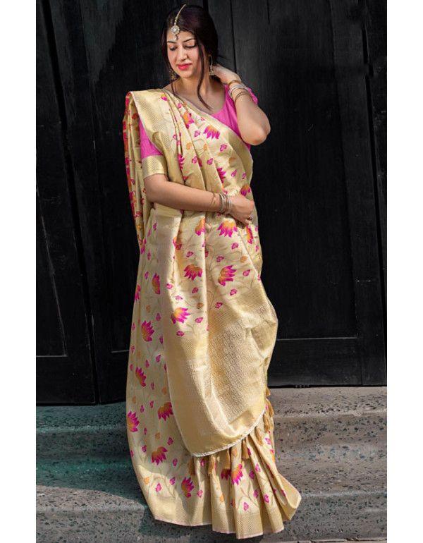 8fc3f62bae334e Bisque Cream Zari Woven Kanjivaram Saree in 2019   Bridal (Wedding ...