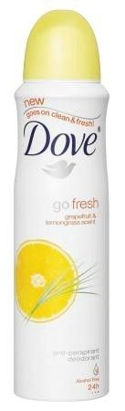Dove Grapefruit & Lemongrass Antiperspirant goes on clean and fresh and has a quarter moisturing cream to improve the look and feel of underarms