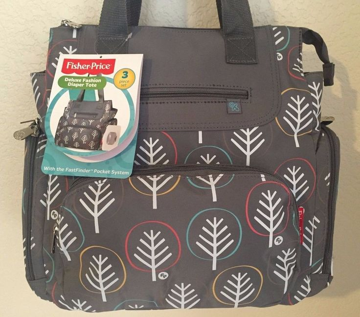 FISHER PRICE Deluxe Fashion Diaper Tote 4 external FastFinder pockets Wipe case…