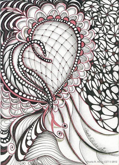 "Heart Felt Zentangle ©2012  5"" x 7"", Pigma Micron Pen, Graphite & Sakura Stardust Pens by Sharla R. Hicks CZT teaching Zentangle at SoftExpressions.com   in Anaheim CA, via Flickr"