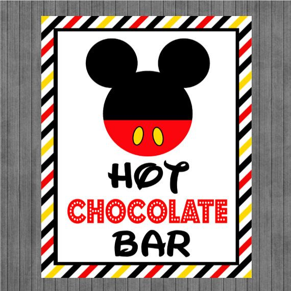 Mickey Mouse Birthday Sign, Hot Chocolate Bar, Red, Black Stripes