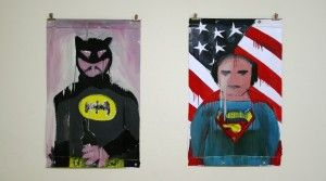 Fabio Moro, o.T. (Batman), 2011, Enamel auf PVC, 118 x 74,5 cm Fabio Moro, o.T. (Superman), 2011, Enamel auf PVC, 118 x 74,5 cm Anna25 Januar Ausstellung München 2013