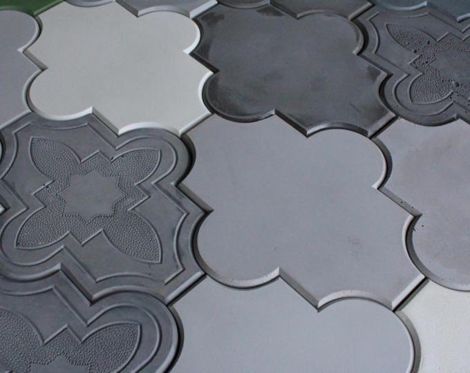 concrete tiles _ backsplash tiles _ decorative tiles _ wall decor _ arabesque tile - Schwarzweimosaikfliese Backsplash