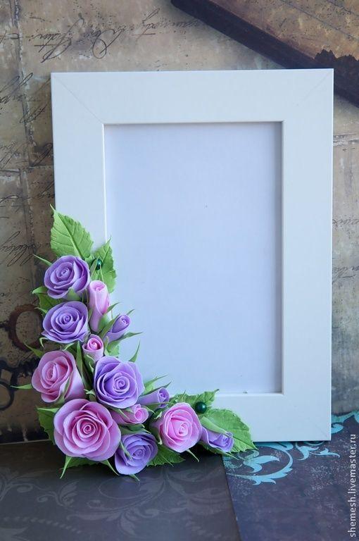 Купить Фоторамка с розами - сиреневый, роза, фоторамка, рамка для фото, фотография, розовый, белый, нежный