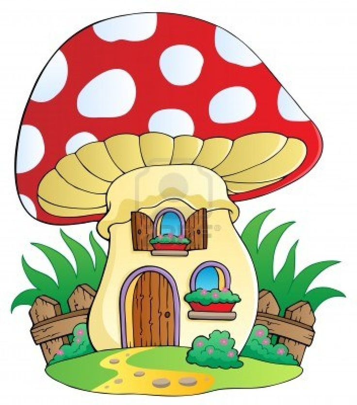 Cartoon paddestoel huis - vector illustratie Stockfoto