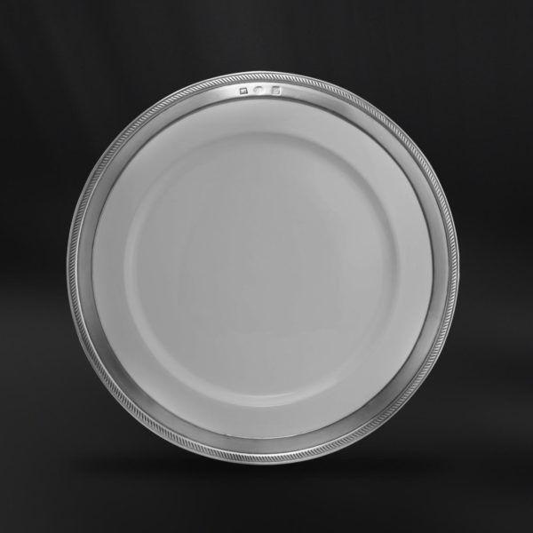 Ceramic & Pewter Dinner Plate - Diameter: 28 cm (11″) - Food Safe Product - #ceramic #pewter #dinner #plate #porcelain #china #peltro #ceramica #piatto #piano #portata #zinn #keramik #teller #étain #etain #céramique #assiette #diner #peltre #tinn #олово #оловянный #tableware #dinnerware #table #accessories #decor #design #bottega #peltro #GT #italian #handmade #made #italy #artisans #craftsmanship #craftsman #primitive #vintage #antique #luisa