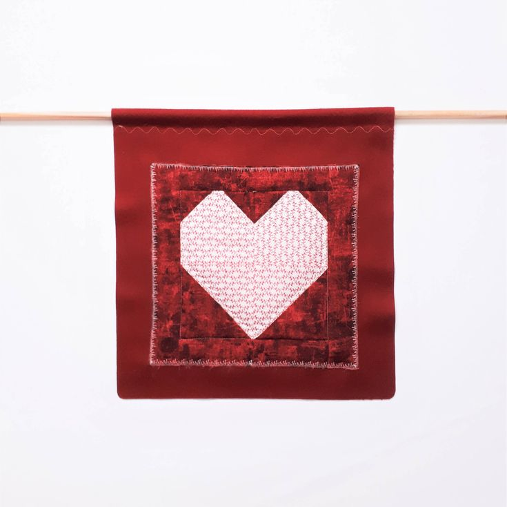 Valentine's Day Pennant, Banner, Wall Decor, Heart Banner, Wall Hanging, Upcycled, Valentine's Decoration