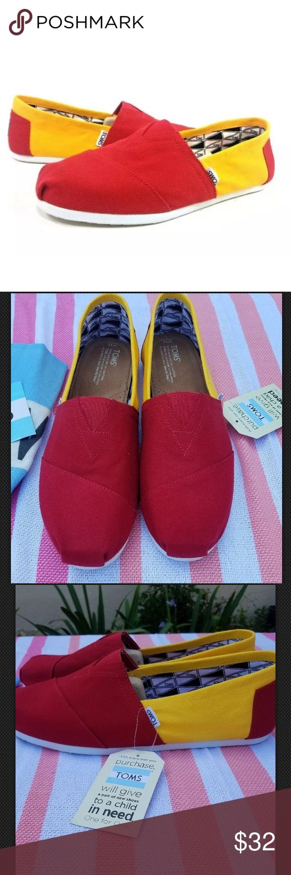 "Toms Men's Campus Classics USC Slip ons Toms Men's Campus Classics USC Slip ons      Color yellow/red  Size 11   New with out box.  Store display model. With out box, dust bag included. See all photos.      width 3 1/2"" sole length 11 1/2"" insole length 11 1/2""      	•	Imported